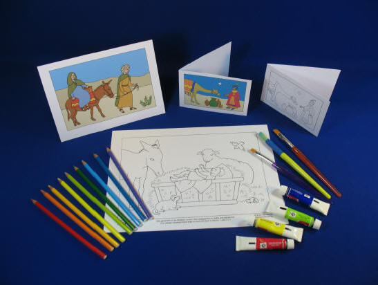 Colouring Christmas Pictures and Cards display