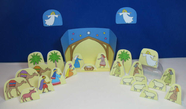 Colour and Cut Out Full Nativity display