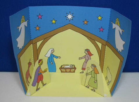 Colour and Cut Out One Page Nativity display