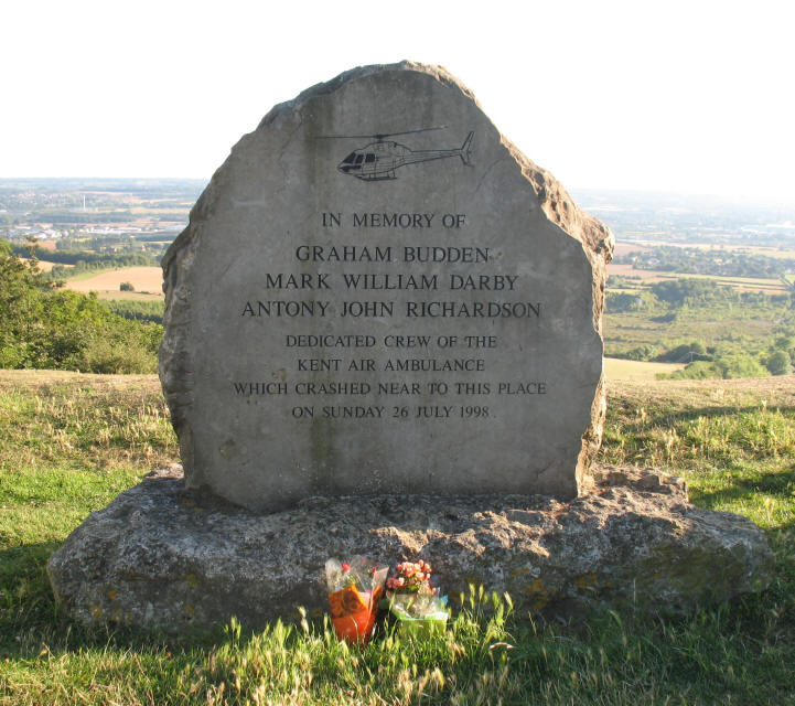 Kent Air Ambulance Memorial stone, Blue Bell Bill, Rochester