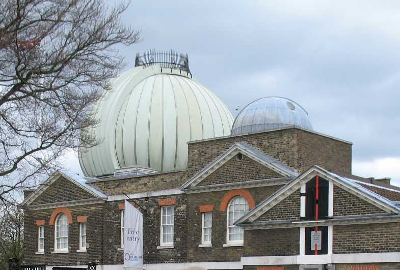 Greenwich Park Observatory dome and Meridian line