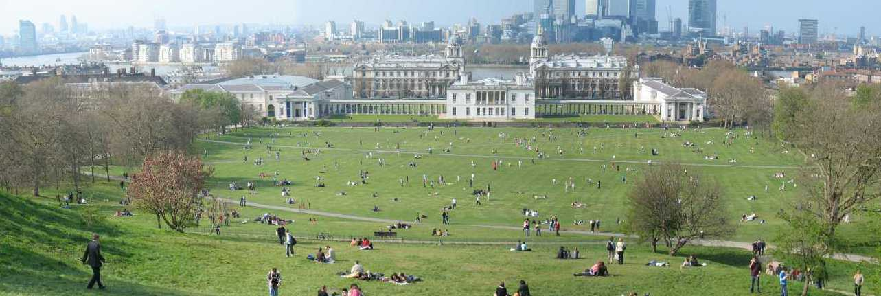 Greenwich Park, view of Queen's House from Royal Observatory