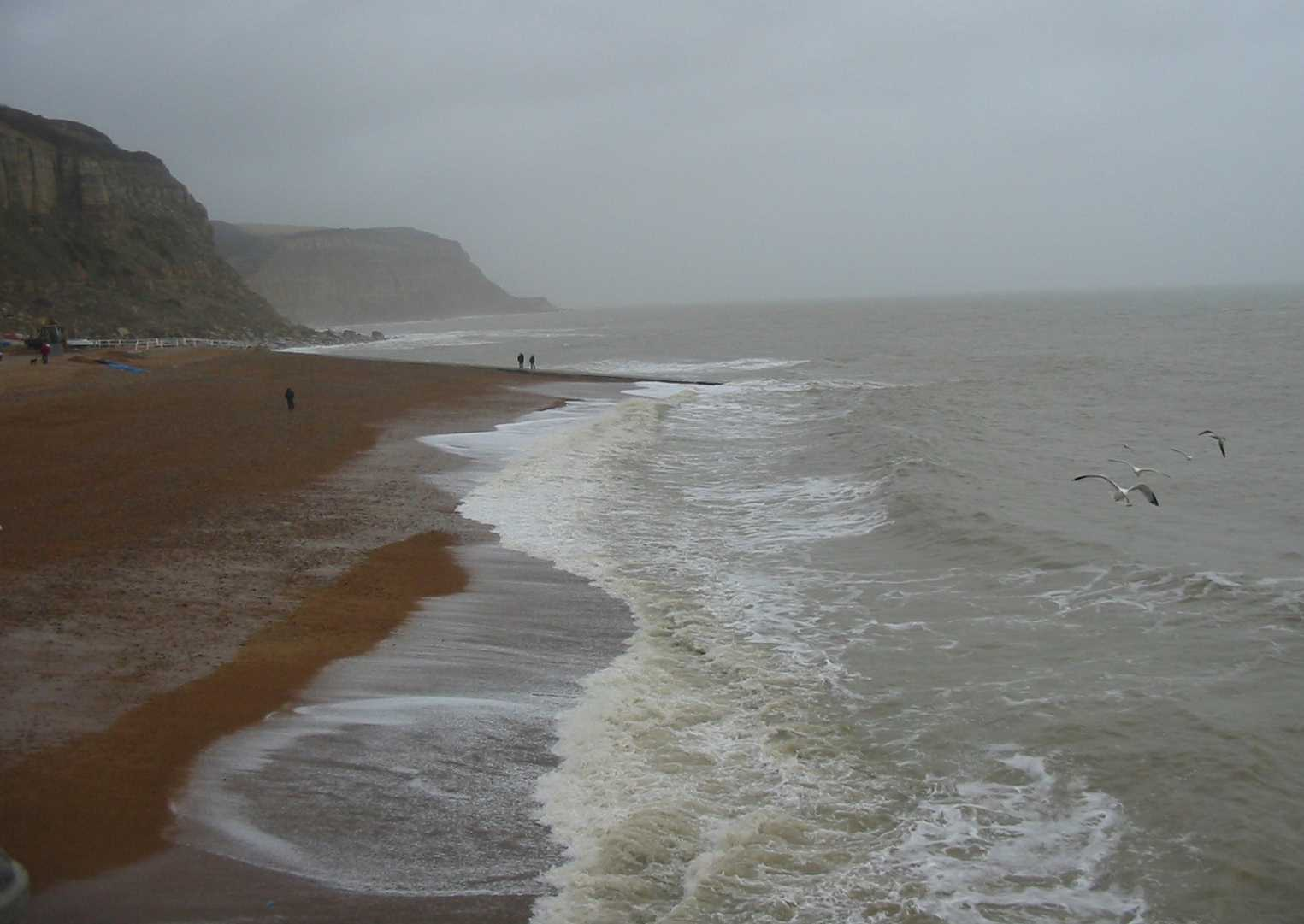 Hastings east beach winter