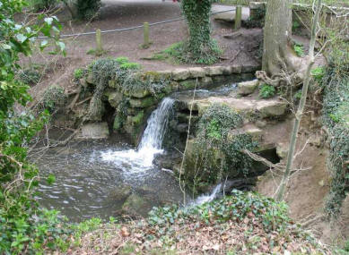 Maidstone Mote Park waterfall into lake