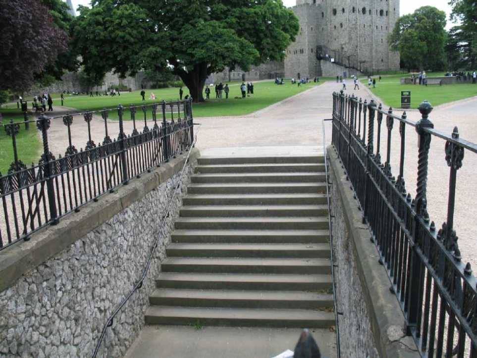 Steps into Rochester Castle bailey