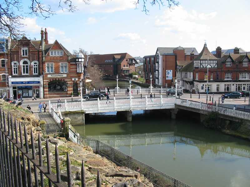 Tonbridge, river and bridge seen from castle grounds