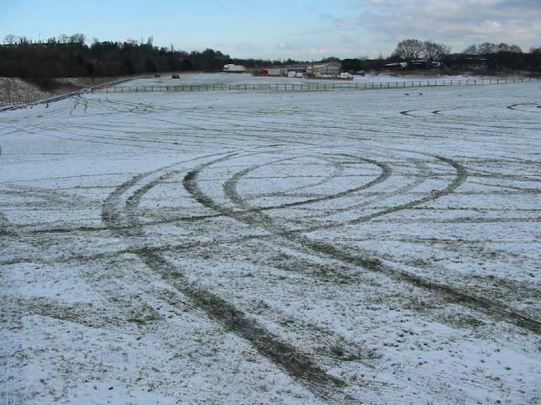 Snow with skid marks